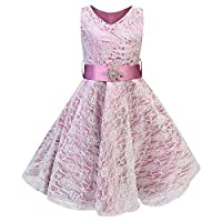 Live It Style It Girls V-Neck Lace Wedding Party Bridesmaid Princess Dance Prom Dresses (11-12 Years, Hot Pink)