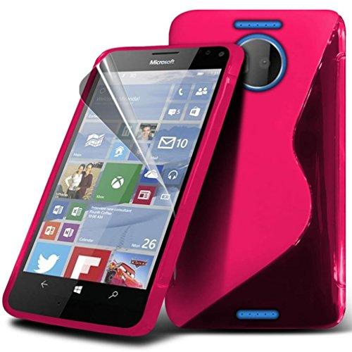 Preisvergleich Produktbild Gadget Giant® Microsoft Lumia 950 Hohe Qualität S-Line Hydro Silikon Haut Abdeckung S line flexibel Hülle Case schutzhülle mit Displayschutz-Folie & Eingabestift - Pink Farbe