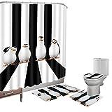 bearbae 16piezas Juego de cortina de ducha de baño alfombrilla Set Contorno alfombrilla para tapa de inodoro pingüinos Cute animales Patten cortina de ducha con 12ganchos