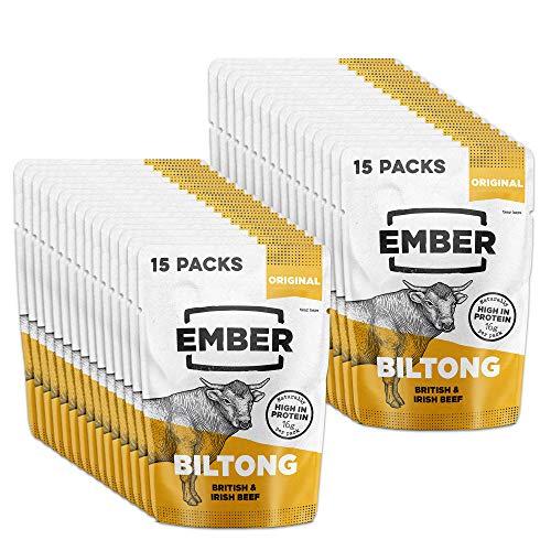 Ember Biltong 30 Stück - Beef Jerky Original - Proteinreicher Snack - Original (30 x 28g) -