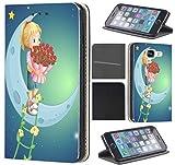Samsung Galaxy Xcover 3 Hülle von CoverHeld Premium Flipcover Schutzhülle Xcover 3 aus Kunstleder Flip Case Motiv (731 Mädchen mit Rosen auf Mond Cartoon)