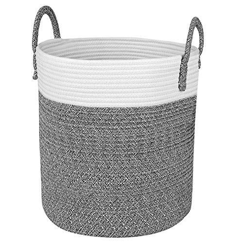 Homfa Wäschekorb faltbarer Wäschesammler Natur Baumwolle Seil Aufbewahrungskorb Wäschesack für Wohnzimmer Badezimmer Schlafzimmer 33 x 38 x 33cm   -