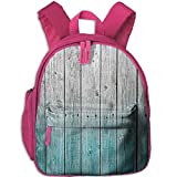 Lovely Schoolbag Blue Wood Panels Double Zipper Waterproof Children Schoolbag Backpacks with Front Pockets for Teens Boys Girl
