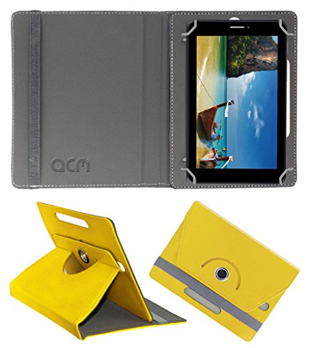 Acm Rotating 360° Leather Flip Case for Iball Slide 7236 2g Cover Stand Yellow  available at amazon for Rs.149