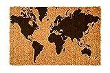 FabaHome Fußmatte Türmatte Kokosvelour,Schmutzfangmatte Kokosfaser, sehr robust, wetterfeste Kokosmatte, Schmutzmatte, 40 x 60 cm, Weltkarte