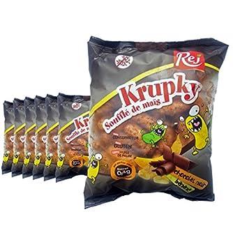 Krupky Soufflé de Maïs au chocolat noir et à la banane - SANS GLUTEN - Lot de 7 sachets de 90g