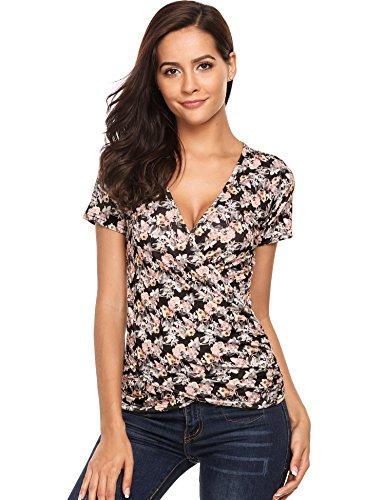 Beyove Damen Wrap Top V-Ausschnitt Kurzarm Slim Fitted Soft T-Shirt Bluse (Slim Brust)