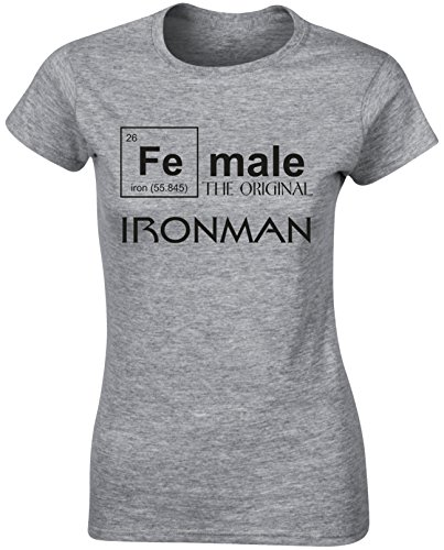 Female Ironman Original Funny Team Sports Ball Games Fans Women T Shirt Recreation Play - White, Light Pink, Grey Colour Ladies Tshirt - Active Sports Birthday Christmas Gift (T-shirt Fitted Bälle)
