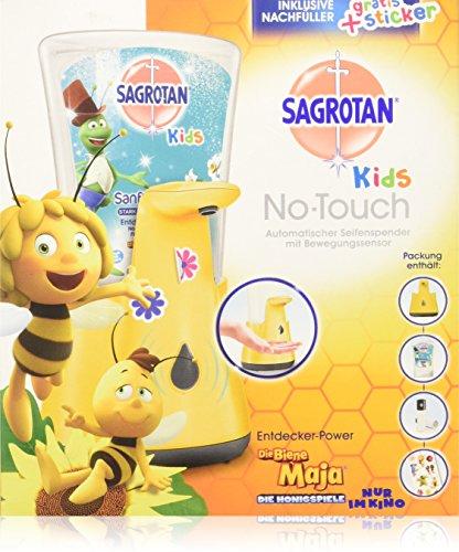 Sagrotan No-Touch Kids Automatischer Seifenspender für Kinder inkl. Nachfüller Entdeckerpower und Sticker, Flüssige Handseife, 1er Pack (1 x 250 ml)