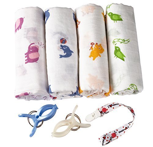 swaddle-blanket-breathable-bamboo-muslin-4-pack-bonuses-stroller-clips-pacifier-clip-baby-sleeping-g