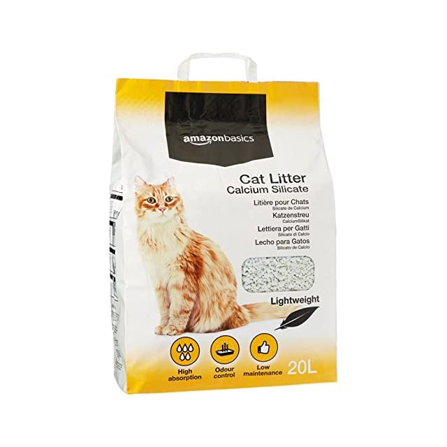 AmazonBasics Litière pour chat à base de silicate de calcium 20l