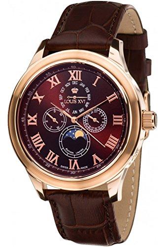 Louis Xvi de Hombre Reloj de Pulsera élysée Le Grand L 'OR Rose Brun analógico de Cuarzo Piel Marrón 556