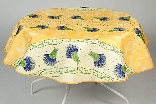 Nappe Bouquet de lavande ronde - Anti Taches, Infroissable - 100% Polyester (Tissu) - Jaune, Ø 160 cm, Ronde