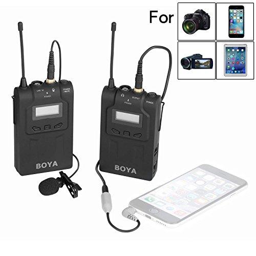 BOYA BY-WM6 UHF Omni-Directional Wireless Lavalier Système de microphone pour Canon EOS T6i C200 Nikon D3300 Appareil photo Sony A9 iPhone 8 8 plus 7 7 plus 6 6 Smartphone