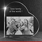 VIP-LASER 2D GRAVUR Glasherz L mit Deinem Familienfoto mit Deinen Kindern und Eltern graviert! Dein Wunschfoto für die Ewigkeit mitten in Glas! Groesse L = 60x60x19mm