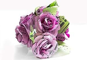 Scrappy Do Decorazione Rosa Musicale In Carta Con Pentagramma Dimensione Grande Rosa Chiaro (5cm x 5cm)
