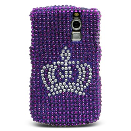 Sparkling Silver Crown Purple Full Diamond Rhinestones Bling Design - Snap On Hard Cover Protector Faceplate Case for Blackberry Curve 8300 8310 8320 8330 + Free LCD Screen Protector Film