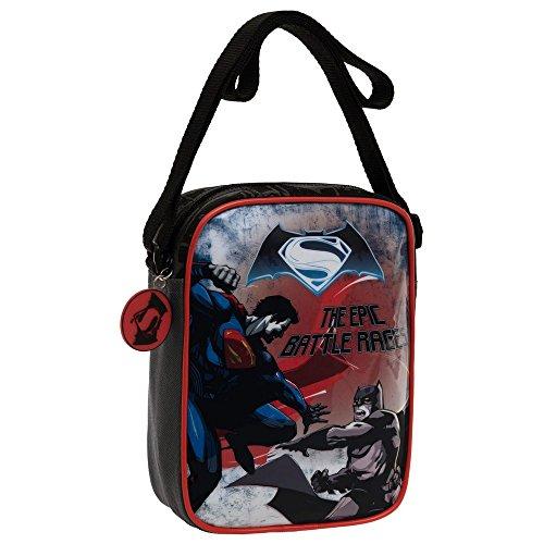 Warner Batman Vs Superman Borsa Messenger, Poliestere, Nero, 20 cm