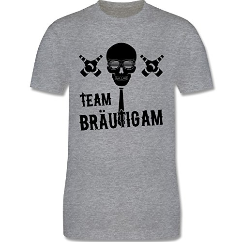 JGA Junggesellenabschied - Team Bräutigam Totenkopf - Herren Premium T-Shirt Grau Meliert