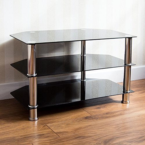 Home Discount Glass Tv Stand, Black Plasma Led Lcd Television Shelves Unit Free Delivery