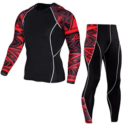 Yijee uomo sportivo abbigliamento manica lunga tight t-shirt fitness jogging pantaloni compressione come immagine4 s