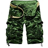 MOIKA Günstig Cargoshorts, Sommer Herren Basic Cargoshorts im Klassischen Stil Bermudas Sportshorts Sweatshorts Shorts Casual ShortsReine Farbe im Freien Pocket Beach Work Hosen Shorts Pant