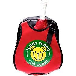 Teddy niños mochila Bolsa para raquetas de tenis, color rojo/negro, ideal para niños de 3–6años.