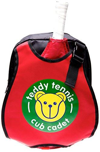 Teddy niños mochila Bolsa para raquetas de tenis, color rojo/negro, ideal para niños de 3-6años.