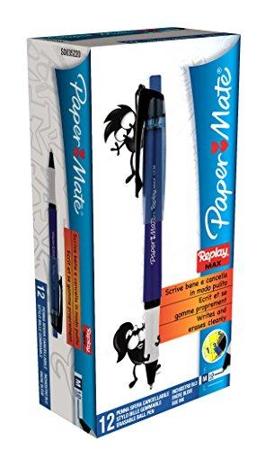 paper-mate-replay-max-erasable-ball-pen-medium-tip-10mm-blue-box-of-12