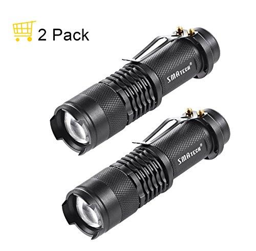 Taschenlampe LED - SMAtech Taschenlampen Mini Handliche 350 Lumen Super Helle Zoombar ideal für Outdoor, Camping, Nachtfischen, Nachtreiten, Notfälle [2er PACK]