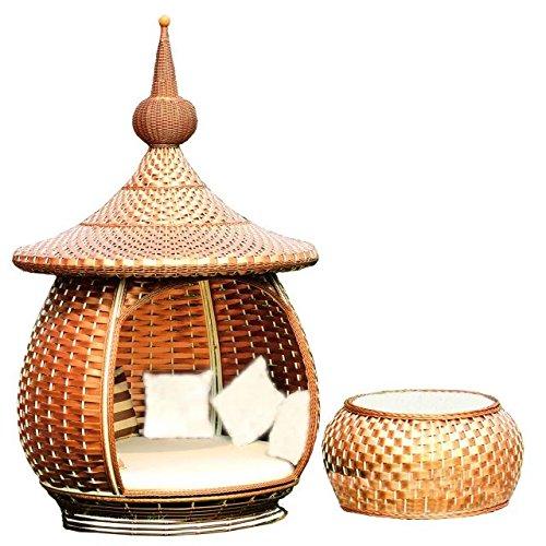 Imitazione bambù - rattan vimini sedie set / sdraio suite / chaise longue / longuer / poltrona / sedia reclinabile / laici sedia / menzogne sedia / posti / sedia / tavolino da salotto / tavolo da tè / tavolinetto a tre gambe / tavolino / fine tabella