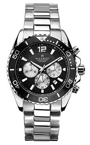 Accurist Men's Quartz Watch with Black Dial Chronograph Display and Silver Stainless Steel Bracelet 7117
