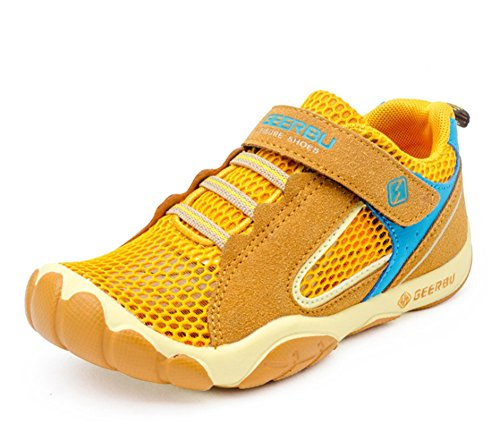 Wealsex Baskets Sneakers Basses Respirant Suédé Mesh Scratch Lacet Chaussures de Sport Running Compétition Entrainement Eté Garçon Jaune
