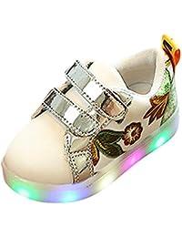zapatos bebe niña invierno, Sannysis Zapatilla Deportiva Baja Con Luz zapatos led niño zapatos princesa niñas de Colores de luces reflectantes de seguridad, decoración de flores (EU 24, Rosa)