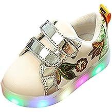 zapatos bebe niña invierno, Sannysis Zapatilla Deportiva Baja Con Luz zapatos led niño zapatos princesa niñas de Colores de luces reflectantes de seguridad, decoración de flores (EU 25, Rosa)