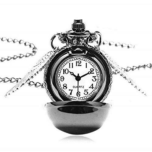 Lovelegis Halskette für Herren und Frauen - Damen Kette - Frauenhalskette - Taschenuhr - Harry Potter - Steampunk - Pocket Watch - Golden Snitch - Engelsflügel - Schwarze Farbe