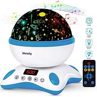 Moredig Lámpara Proyector Estrellas, 360° Rotación Músic Lampara con Temporizador led Pantalla y Control Remoto, 8 Modos Romántica luz de la Noche, Perfecto Regalo para Bebés