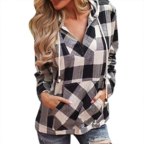 Jiameng bluse e camicie da donna - top camicia a maniche lunghe scozzese con cappuccio moda pullover t-shirt a quadri a maniche lunghe con cappuccio camicetta superiore(s,nero)