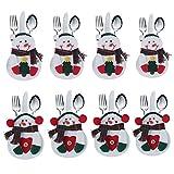 8pcs set Kitchen Cutlery Suit Silverware Holders Pockets Knifes Forks Bag Snowman Shaped Christmas Party Decoration D¨¦cor