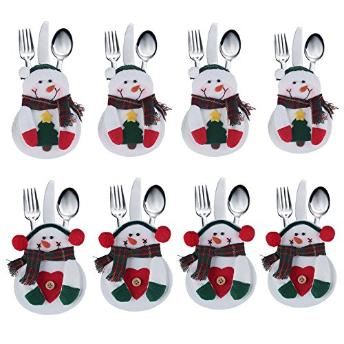 8pcs set Kitchen Cutlery Suit Silverware Holders Pockets Knifes Forks Bag Snowman Shaped Christmas Party Decoration D¨¦cor