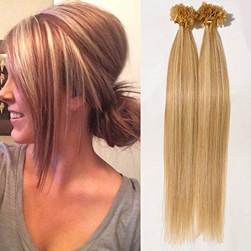 Extensin capelli veri cheratina 1 grammo ciocche con meche beige sabbia bionda mix biondo chiarissimo u tip nail hair 100% remy human hair - 45cm 50g 18#/613#