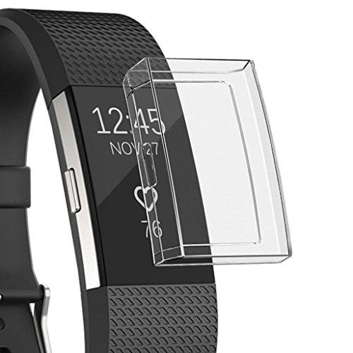 Amcool Watch Hülle Displayschutz Weiche Ultradünne TPU Schutzhülle Rundherum Schutz Case für Fitbit Charge 2 (Klar)