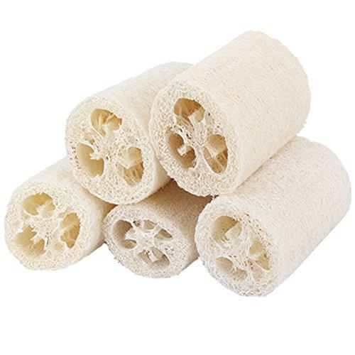 Kentop 5Stk Luffaschwamm aus Natürliche Luffa, Naturschwamm Luffa-Peeling Wäscher Schwamm zum Baden und Reinigung für Badezimmer und Küche