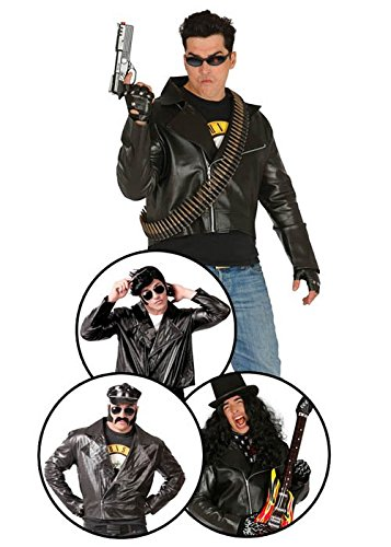Magic Box Int. 80er Jahre Rocker Black Leder Look Biker Jacke
