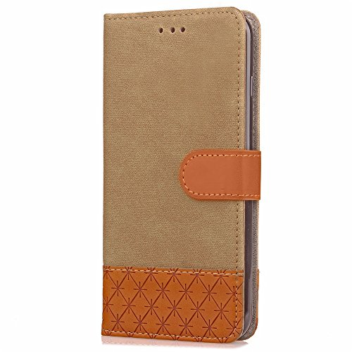 JIALUN-Telefon Fall Mixed Colours Retro Premium PU Ledertasche 360 ​​° Schutz Wallet Stand Cover Case mit Lanyard & Card Slots für iPhone 7 Plus ( Color : Blue ) Beige