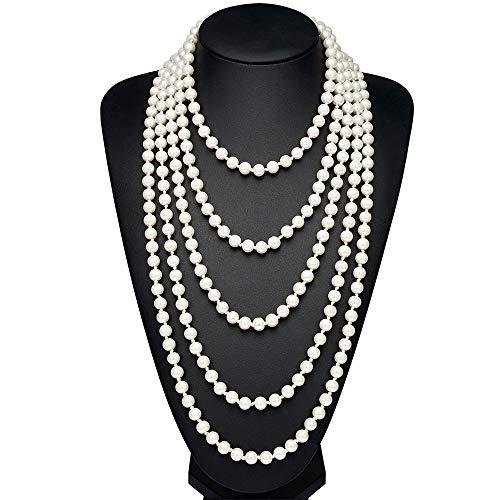 (BABEYOND Modische Imitation Perlen Kette Flapper Art Deco 1920s Gatsby Kostüm Accessoires Lange Perle Halskette 300 cm/118
