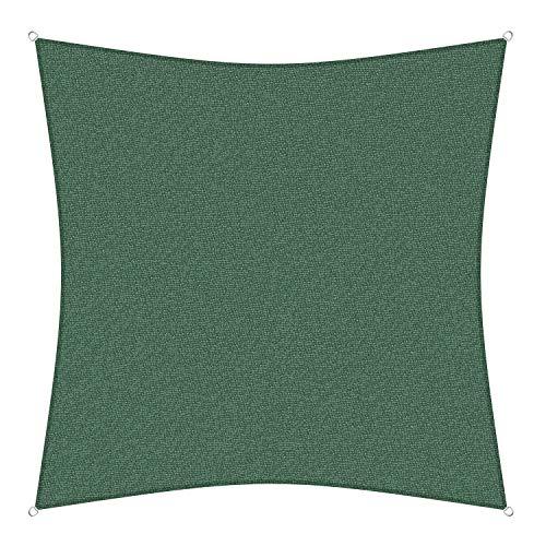 sunprotect 83265 Professional Sonnensegel, 3,6 x 3,6 m, Quadrat, Wind- & wasserdurchlässig, grün -