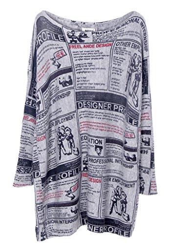 Smile YKK Lose Damen Damen Sweatershirt Langshirt Langarmshirt Hemd Bluse Pullover Pulli Long Sleeve für Frühling Herbst Grau