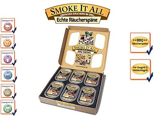 SMOKE IT ALL BBQ Räucherspäne Räuchermischung mit Gewürzen - - 6er Geschenk-Set, 50612