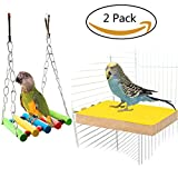 Tacobear Colorful Bird Posatoio Stand Platform e altalena Toy Set Natural Wood Paw Rettifica Bird Cage Perch per Parrot Parrocchetto Hamster Gerbil Gabbie Toy Hammock altalena Giocattolo appeso giocattolo per piccoli animali (Side)